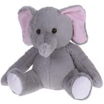 knuffeldier olifant junior 20 x 22 cm pluche grijs