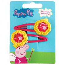 haarclipjes Peppa Pig meisjes geel/fuchsia 2 stuks