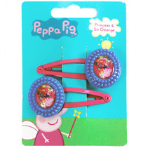 haarclipjes Peppa Pig meisjes blauw/fuchsia 2 stuks