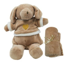 knuffelbeer met deken 100 cm polyester bruin 2-delig