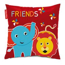 kussen olifant & leeuw junior 40 cm rood/blauw