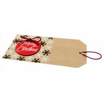 kerstetiketten Merry-X-mass junior papier bruin 8-delig