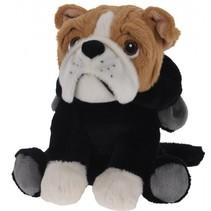 pluchen hondenknuffel met panterjas 20 cm zwart