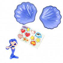 schelp-zeemeerminset junior 7 cm blauw 3-delig