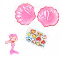 schelp-zeemeerminset junior 7 cm roze 3-delig