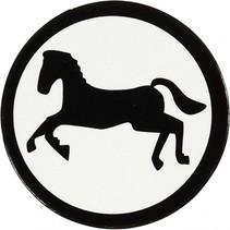 silhouette paard zwart/wit 25 mm 20 stuks