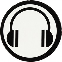 silhouette koptelefoon zwart/wit 25 mm 20 stuks