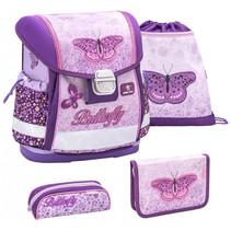 rugzakset vlinder junior 19 liter polyester paars/roze