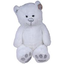 knuffelbeer junior 70 x 38 cm pluche wit/zilver