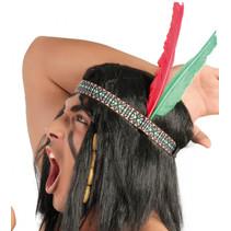 hoofdband indiaan polyester/veren rood/groen one-size