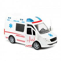 ambulance met licht en geluid 21 cm wit