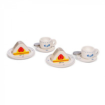 theeset Royal junior hout wit/blauw 10-delig