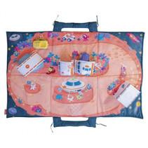 speelmat Ruimte 105 x 70 cm polyester roze/blauw