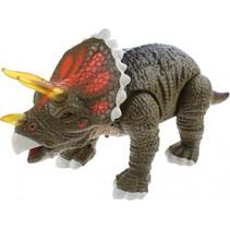 Triceratops met licht en geluid donkergroen 33 cm