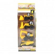 bouwvoertuigen geel 4 stuks