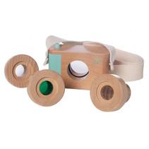 speelgoedcamera 9 cm hout blank 4-delig