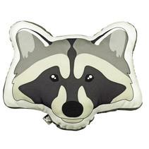sierkussen Raccoon junior 40 x 40 cm textiel grijs/zwart