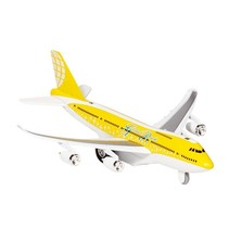 Metalen Vliegtuig Met Geluid en Licht 18,5 cm Geel