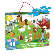 vloerpuzzel boerderijdieren 60 x 90 cm karton 48 stuks