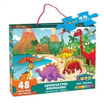 vloerpuzzel dinosaurus 60 x 90 cm karton 48 stuks