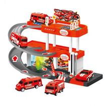 parkeergarage brandweer junior 40,5 x 7,5 x 28 cm rood