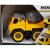 cementwagen Toy Bricks jongens 12 cm zwart/geel