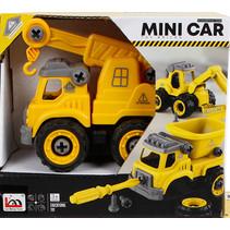hijskraan Toy Bricks jongens 12 cm zwart/geel