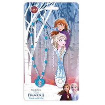 haarborstel en ketting Frozen 2 meisjes 25 cm blauw