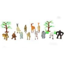 wilde dieren speelset 8,9 cm 16-delig