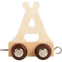 lettertrein Ä junior 5 x 3,5 cm hout beige/bruin