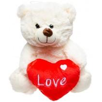 knuffelbeer met hart 24 cm wit