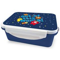 broodtrommel ruimte 16 x 12 x 6,5 cm donkerblauw/wit