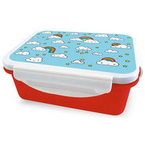 broodtrommel wolkjes 16 x 12 x 6,5 cm rood/blauw