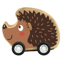 egel op wielen pull-back 7,5 x 7 cm hout bruin