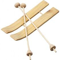 ski met stokken 11 x 3,8 cm hout beige 9-delig