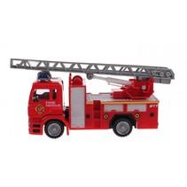 Metal brandweerwagen hoogwerker rood 11 cm