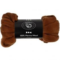 wol Merino 21 micron bruin 100 gram per bol