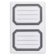 schooletiketten 70 x 52 mm wit/zwart 5 vellen à 2 stuks