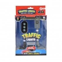 flitspaal en verkeerslicht met licht en geluid zwart 15 cm