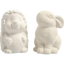 dierenspaarpot egel en konijn 10 cm wit 2 stuks
