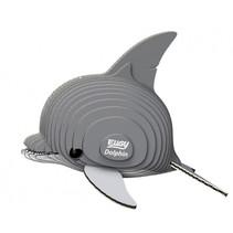 3D-puzzel dolfijn 7,5 x 6 cm karton grijs 25-delig