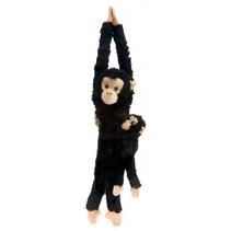 knuffel Chimpansee met baby 51 cm pluche zwart