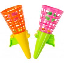 vangbekerspel PP 13 cm geel/groen/roze/oranje 4-delig