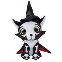 knuffel Lumo Cat Spooky Classic 15 cm zwart/wit