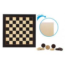 dambord met damstenen 29,5 x 29,5 cm zwart/beige