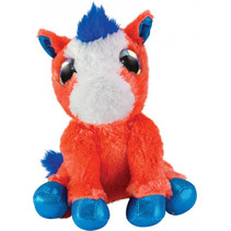 knuffel Horse Heppa junior 15 cm pluche oranje/blauw