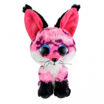 knuffel Fox Rhubarb junior 15 cm pluche zwart, roze