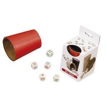 dobbelbeker met pokerdobbelstenen 7 cm leer rood 6-delig