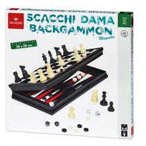 schaak- en dambord 30 cm hout/staal zwart/wit 3-delig