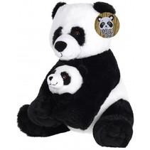 knuffelpanda met jong pluche 26 cm zwart/wit